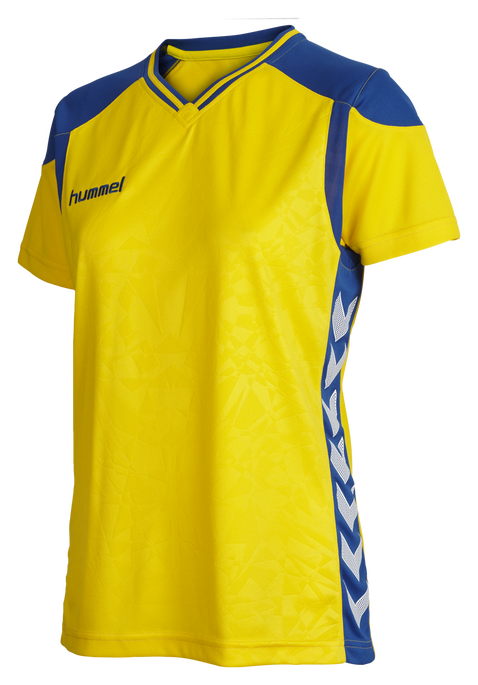 HUMMEL SIRIUS SS JERSEY WOMEN, SPORTS YELLOW/TRUE BLUE, packshot