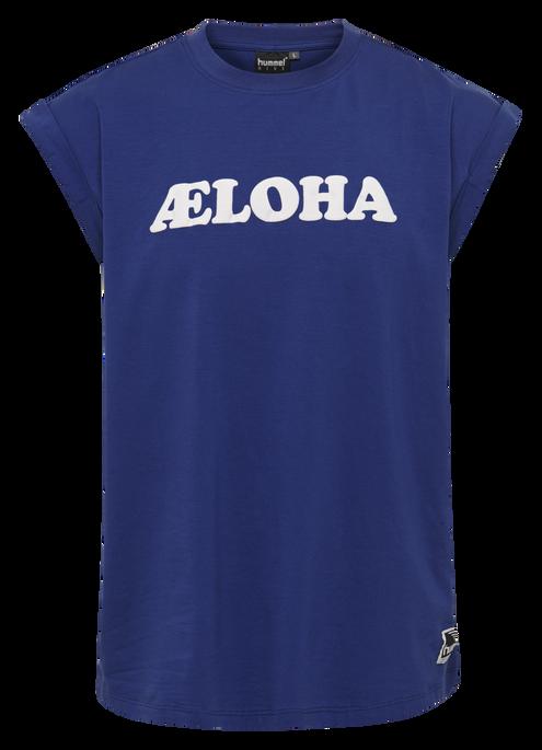 hmlAELOHA LOOSE T-SHIRT S/L, MAZARINE BLUE, packshot