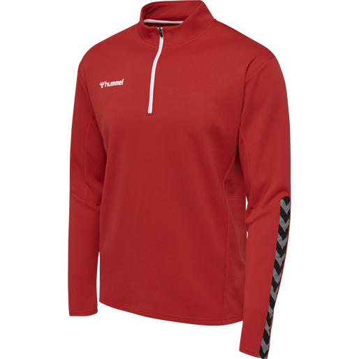 hmlAUTHENTIC HALF ZIP SWEATSHIRT, TRUE RED, packshot