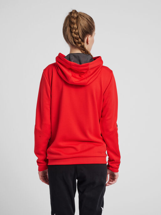 hmlAUTHENTIC POLY ZIP HOODIE WOMAN, TRUE RED, model