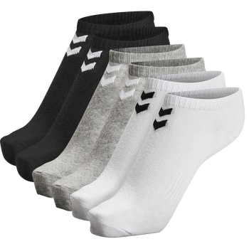 hmlCHEVRON 6-PACK ANKLE SOCKS, WHITE/BLACK/GREY, packshot