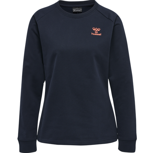 hmlACTION COTTON SWEATSHIRT WOMAN, DARK SAPPHIRE/FIESTA, packshot