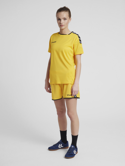 hmlAUTHENTIC POLY JERSEY WOMAN S/S, SPORTS YELLOW/BLACK, model