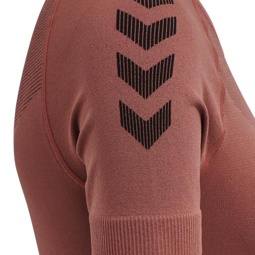 HUMMEL FIRST SEAMLESS JERSEY S/S WOMAN, MARSALA, packshot