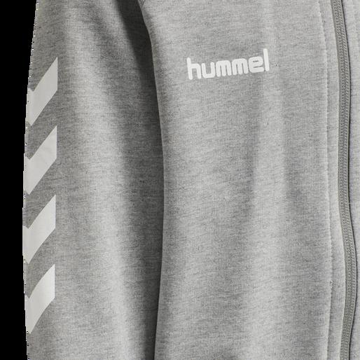 HUMMEL GO KIDS COTTON ZIP HOODIE, GREY MELANGE, packshot