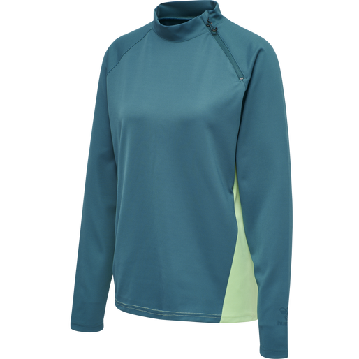 hmlACTION HALF ZIP SWEAT WOMAN, BLUE CORAL/GREEN ASH, packshot