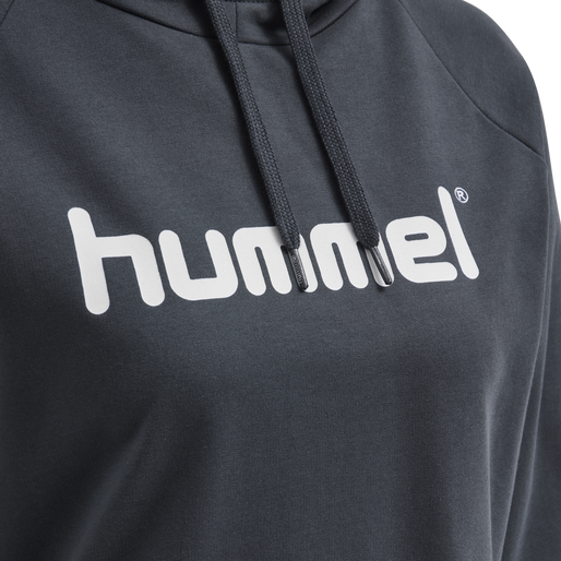 HUMMEL GO COTTON LOGO HOODIE WOMAN, INDIA INK, packshot