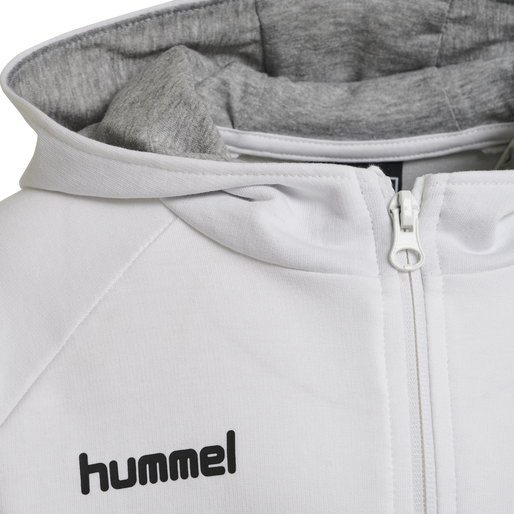 HUMMEL GO KIDS COTTON ZIP HOODIE, WHITE, packshot