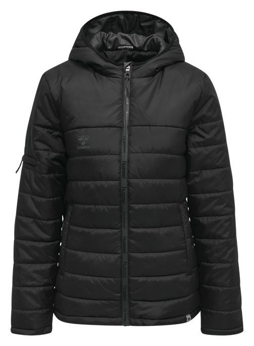 hmlNORTH QUILTED HOOD JACKET WOMAN, BLACK/ASPHALT, packshot