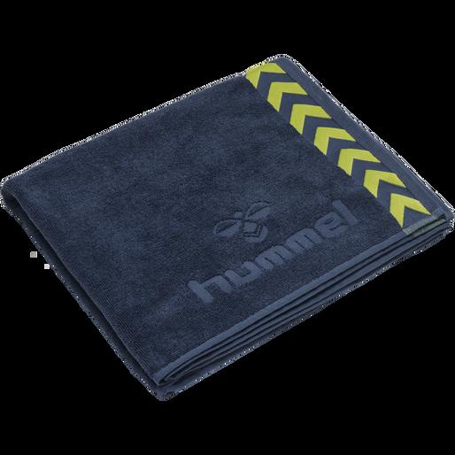 HUMMEL LARGE TOWEL, DARK DENIM/LIME PUNCH, packshot