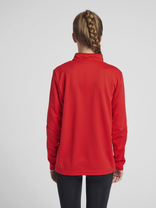hmlAUTHENTIC HALF ZIP SWEATSHIRT WOMAN, TRUE RED, model