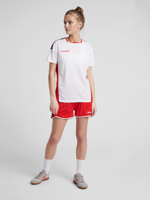 hmlAUTHENTIC POLY JERSEY WOMAN S/S, WHITE/TRUE RED, model