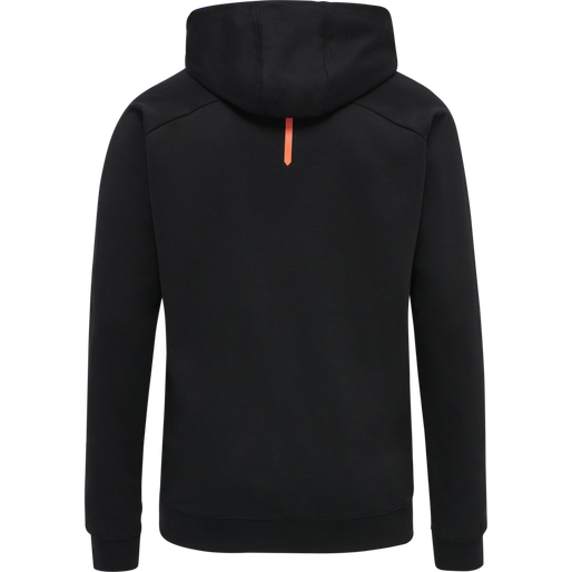 hmlACTION COTTON HOODIE, BLACK/FIESTA, packshot