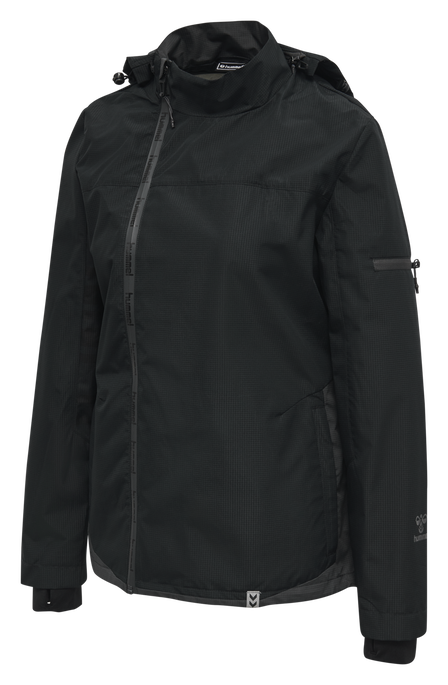 hmlNORTH SHELL JACKET WOMAN, BLACK/ASPHALT, packshot