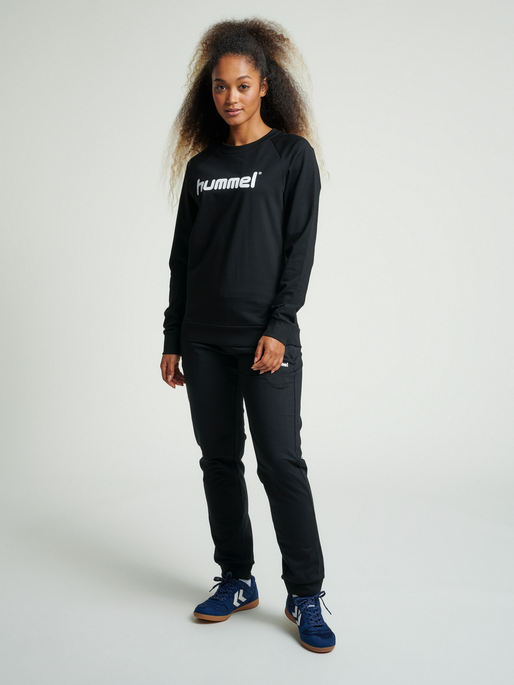 HUMMEL GO COTTON LOGO SWEATSHIRT WOMAN, BLACK, model