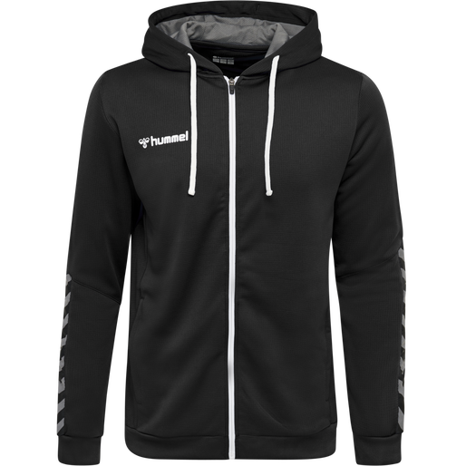hmlAUTHENTIC POLY ZIP HOODIE, BLACK/WHITE, packshot