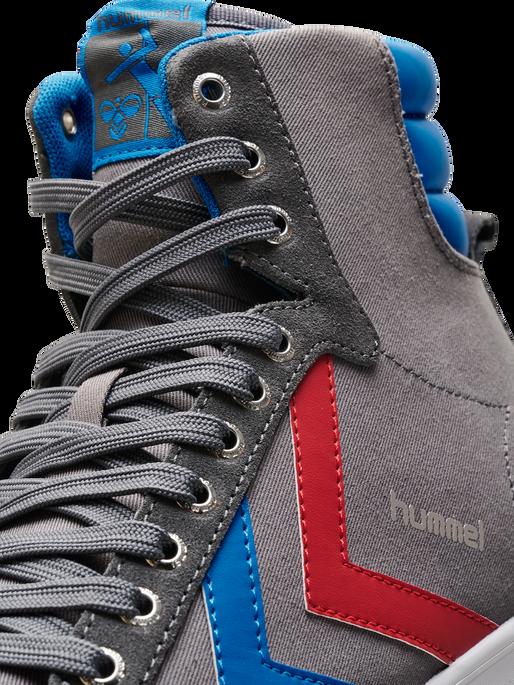 HUMMEL SLIMMER STADIL HIGH, CASTLEROCK/RIBBONRED/BRIL BLUE, packshot