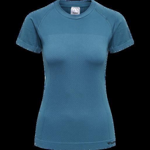 hmlCLEA SEAMLESS T-SHIRT, BLUE CORAL, packshot