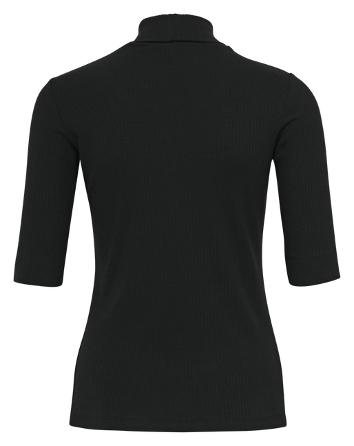 hmlCAROLINE RIB TURTLENECK S/S, BLACK, packshot