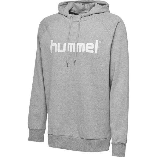 HUMMEL GO KIDS COTTON LOGO HOODIE, GREY MELANGE, packshot