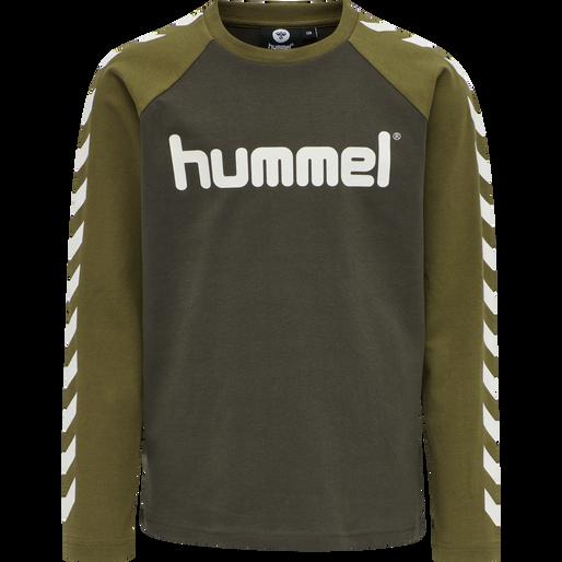 hmlBOYS T-SHIRT LS, BLACK OLIVE, packshot