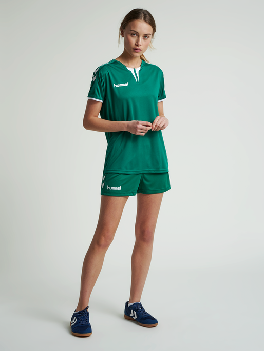 CORE WOMENS SS JERSEY, EVERGREEN PR, model