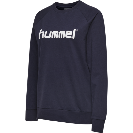 HUMMEL GO COTTON LOGO SWEATSHIRT WOMAN, MARINE, packshot