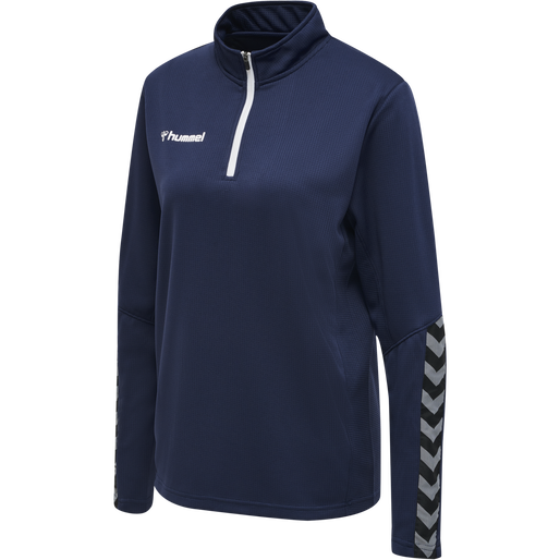 hmlAUTHENTIC HALF ZIP SWEATSHIRT WOMAN, MARINE, packshot