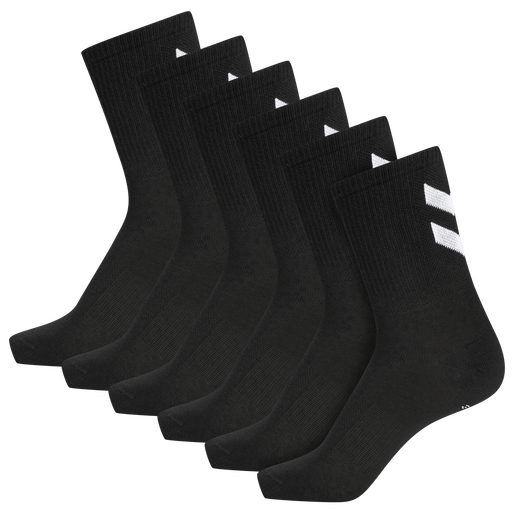 hmlCHEVRON 6-PACK SOCKS, BLACK, packshot