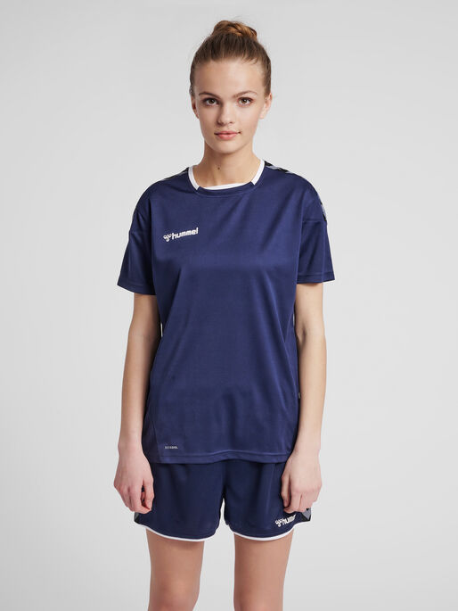 hmlAUTHENTIC POLY JERSEY WOMAN S/S, MARINE, model