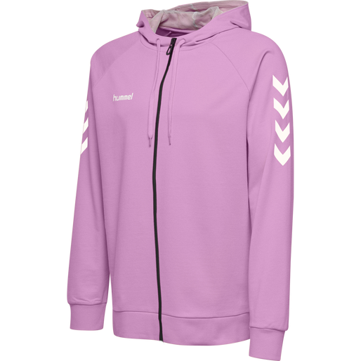 HUMMEL GO KIDS COTTON ZIP HOODIE, ORCHID, packshot