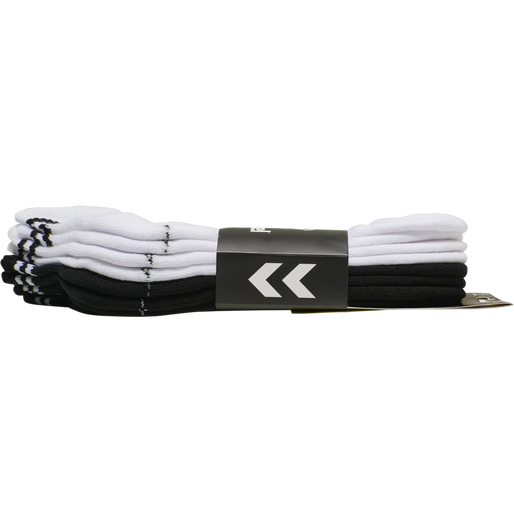 hmlSTRIPE 4-PACK MID CUT SOCKS MIX, WHITE/BLACK, packshot
