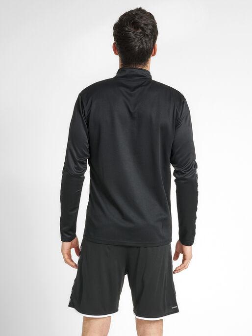 hmlAUTHENTIC HALF ZIP SWEATSHIRT, BLACK/WHITE, model