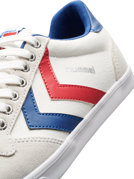 HUMMEL SLIMMER STADIL LOW, WHITE/BLUE/RED/GUM, packshot