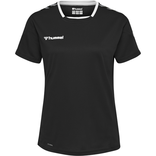 hmlAUTHENTIC POLY JERSEY WOMAN S/S, BLACK/WHITE, packshot