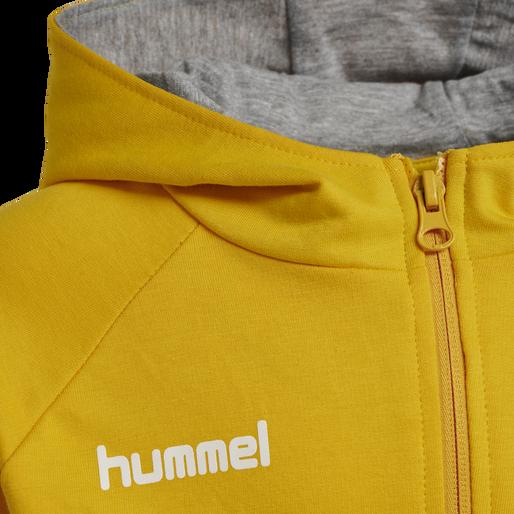 HUMMEL GO KIDS COTTON ZIP HOODIE, SPORTS YELLOW, packshot