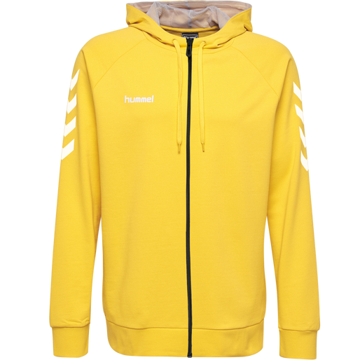 HUMMEL GO KIDS COTTON ZIP HOODIE, SPORTS YELLOW, packshot