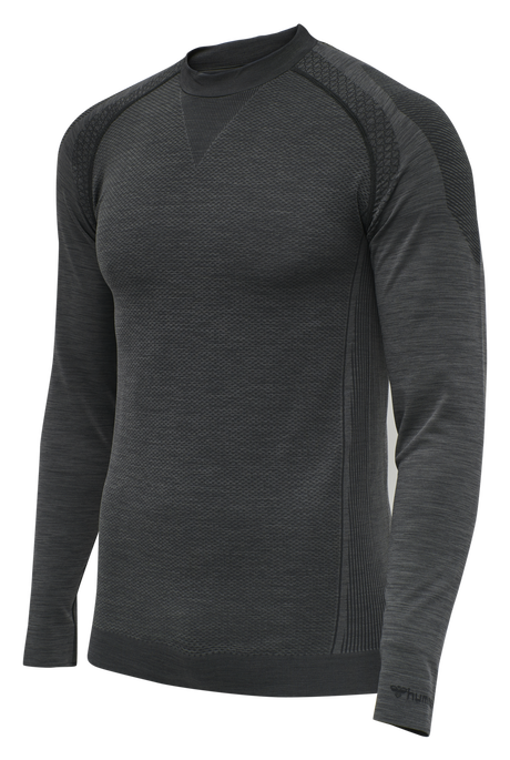 hmlTRACKER SEAMLESS T-SHIRT L/S, BLACK MELANGE, packshot