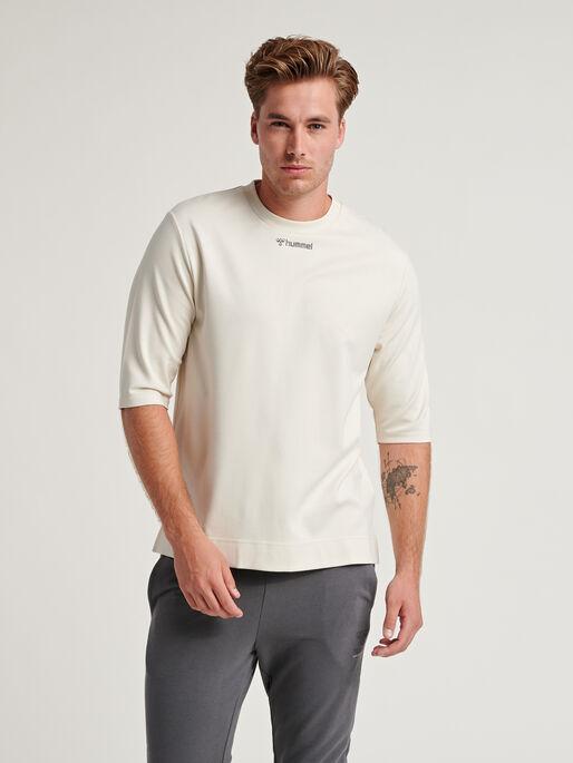hmlMAKSIM LOOSE SWEATSHIRT, BONE WHITE, model