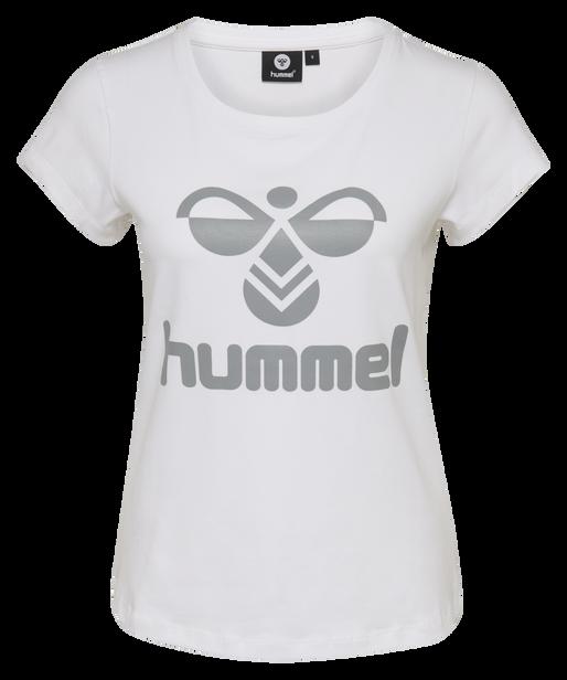 HMLJANE T-SHIRT S/S, WHITE/SHARKSKIN, packshot