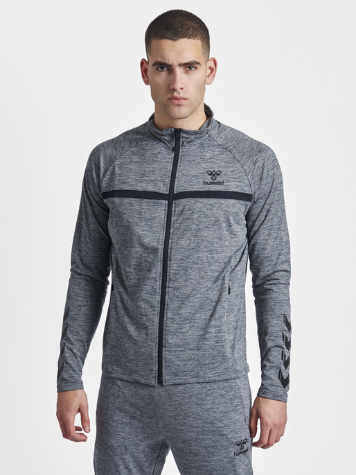 HMLJAMES ZIP JACKET, DARK GREY MELANGE, model
