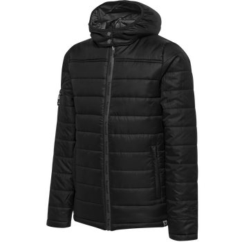 hmlNORTH QUILTED HOOD JACKET KIDS, BLACK/ASPHALT, packshot