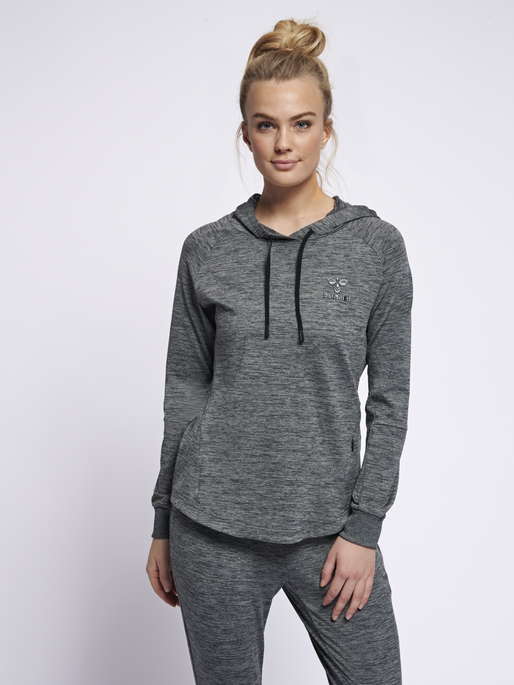 hmlSELBY HOODIE, DARK GREY MELANGE, model