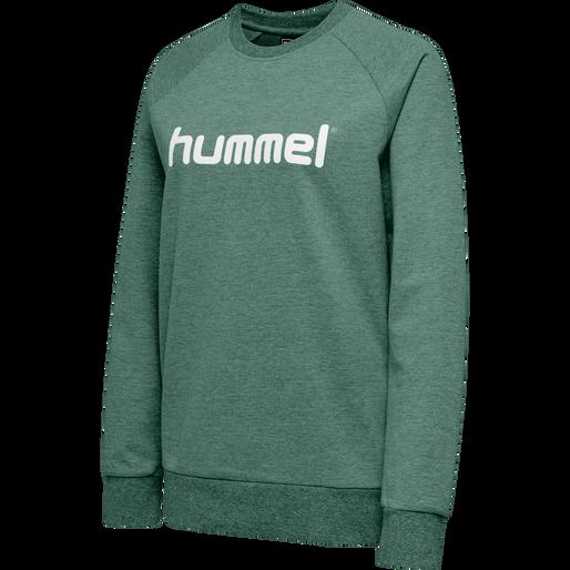 HUMMEL GO COTTON LOGO SWEATSHIRT WOMAN, EVERGREEN, packshot