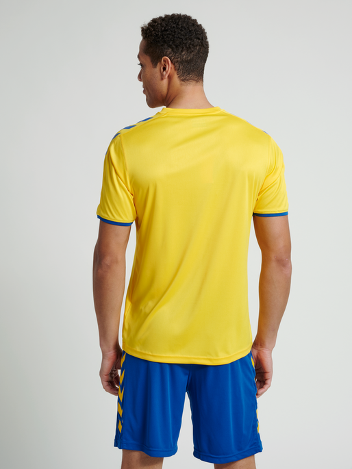 CORE SS POLY JERSEY, SPORTS YELLOW/TRUE BLUE, model