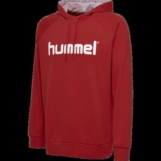 HUMMEL GO COTTON LOGO HOODIE, TRUE RED, packshot
