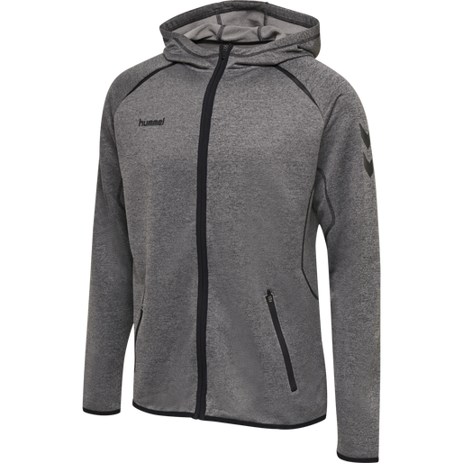 hmlAUTHENTIC PRO ZIP HOODIE, GREY MELANGE, packshot