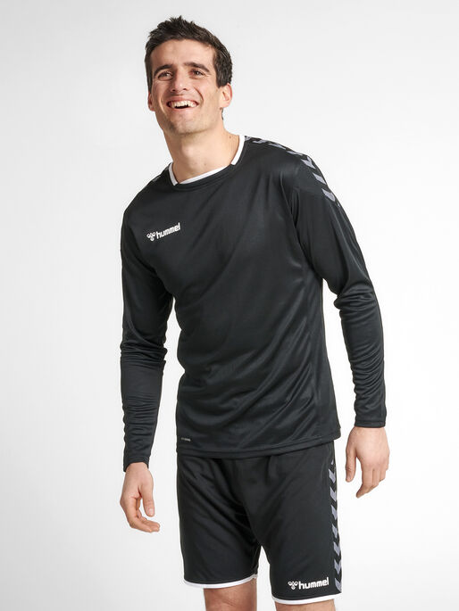 hmlAUTHENTIC POLY JERSEY L/S, BLACK/WHITE, model