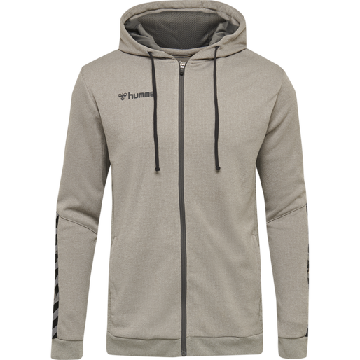 hmlAUTHENTIC KIDS  POLY ZIP HOODIE, GREY MELANGE, packshot