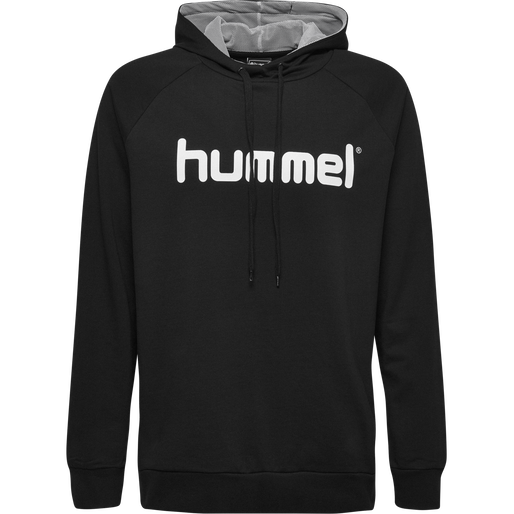 HUMMEL GO COTTON LOGO HOODIE, BLACK, packshot